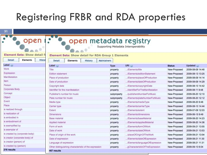 Registering FRBR and RDA properties