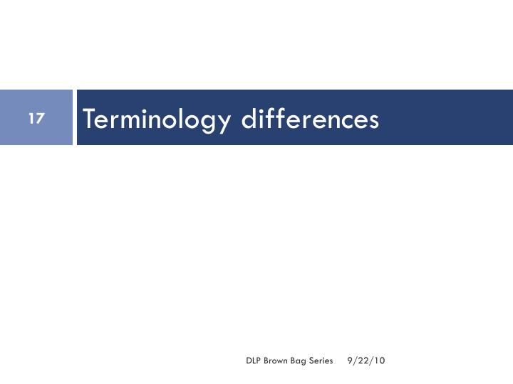 Terminology differences