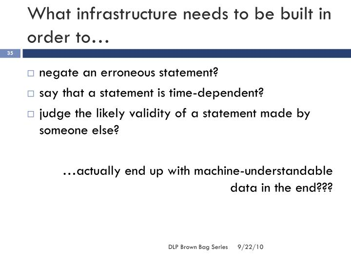 What infrastructure needs to be built in order to…