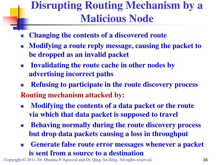 Disrupting Routing Mechanism by a Malicious Node