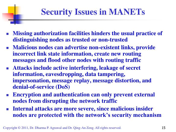 Security Issues in MANETs