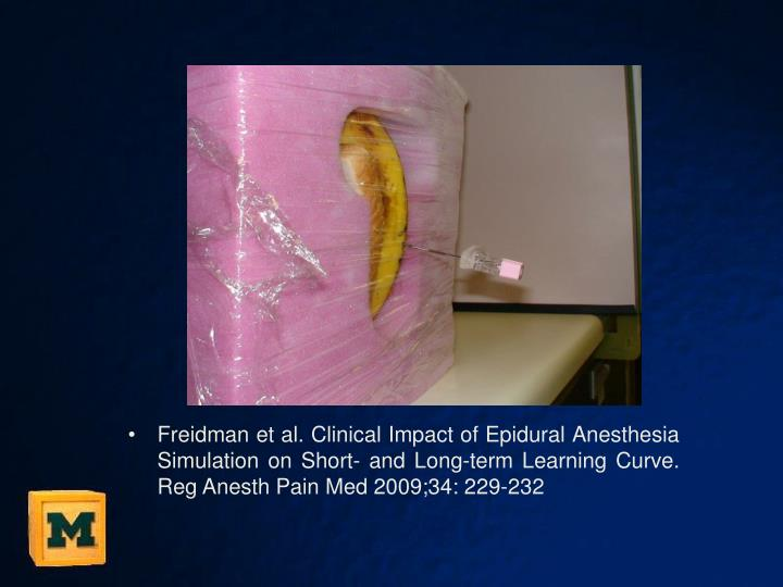 Freidman et al. Clinical Impact of Epidural