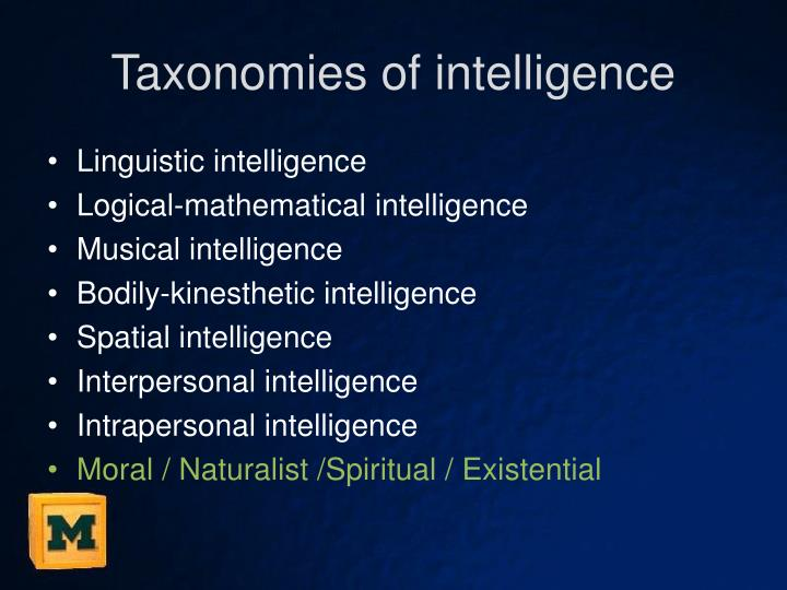 Taxonomies of intelligence