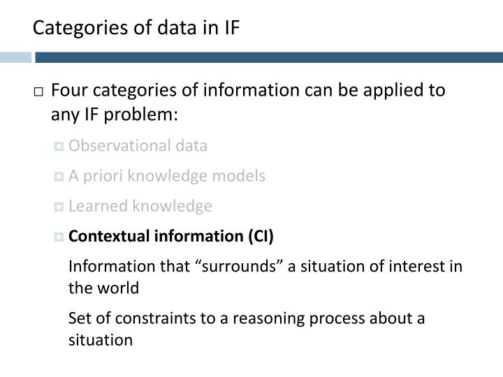 Categories of data in IF