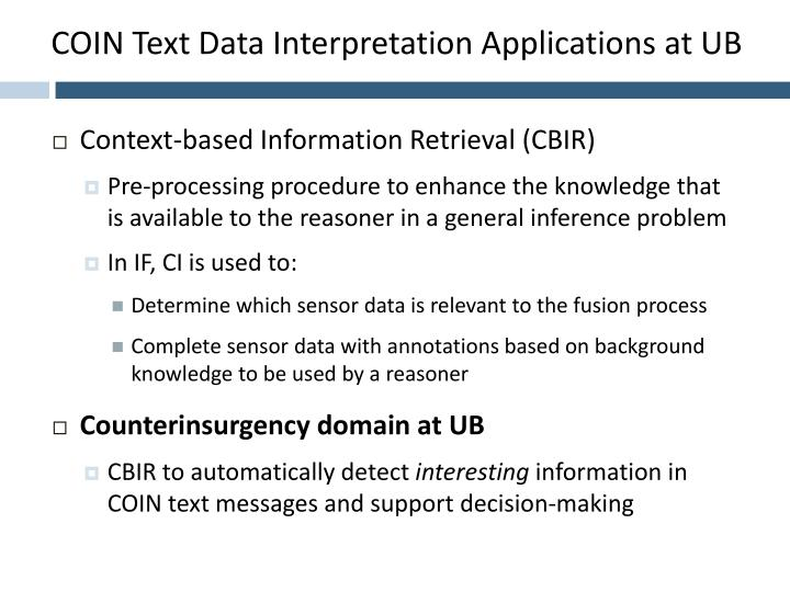 COIN Text Data Interpretation Applications at UB