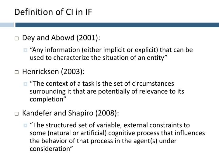 Definition of CI in IF