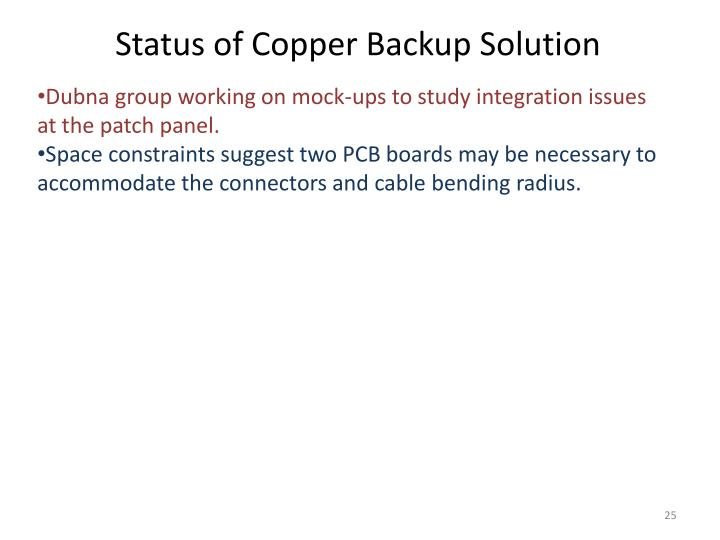 Status of Copper Backup Solution