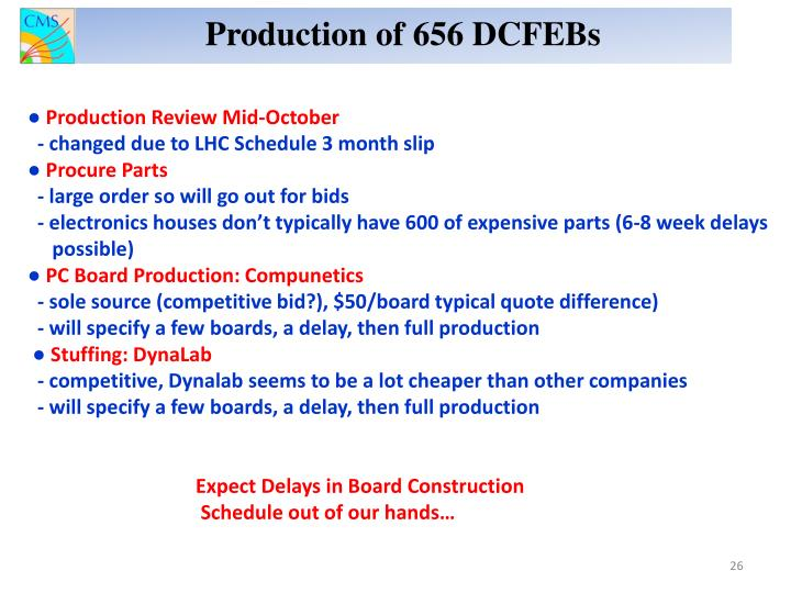 Production of 656 DCFEBs