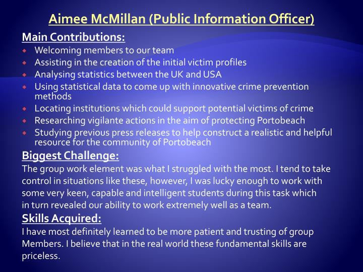 Aimee McMillan (Public Information Officer)