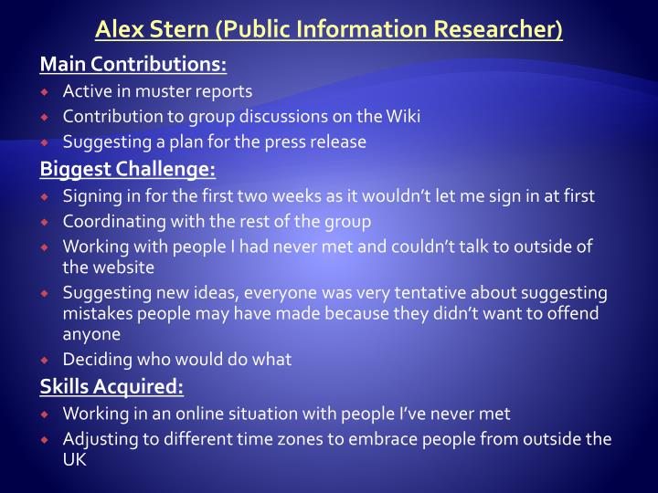 Alex Stern (Public Information Researcher)
