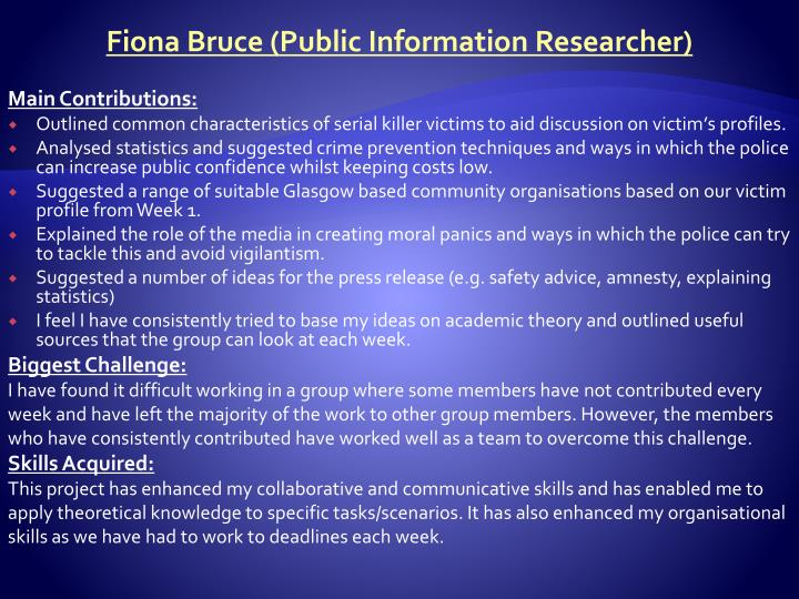 Fiona Bruce (Public Information Researcher)
