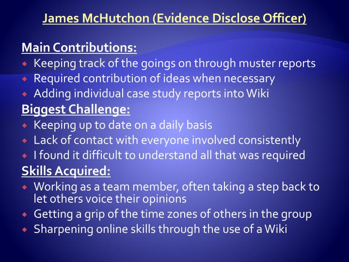 James McHutchon (Evidence Disclose Officer)