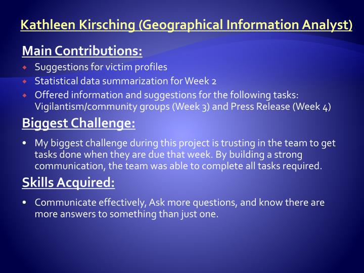 Kathleen Kirsching (Geographical Information Analyst)