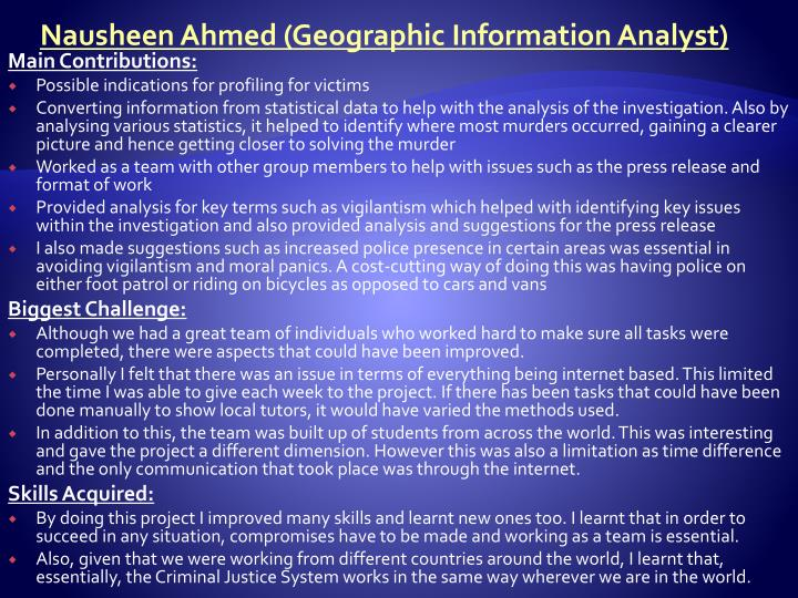 Nausheen Ahmed (Geographic Information Analyst)