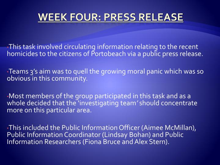 This task involved circulating information relating to the recent homicides to the citizens of Portobeach via a public press release.