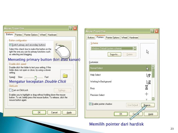 Menseting primary button (kiri atau kanan)