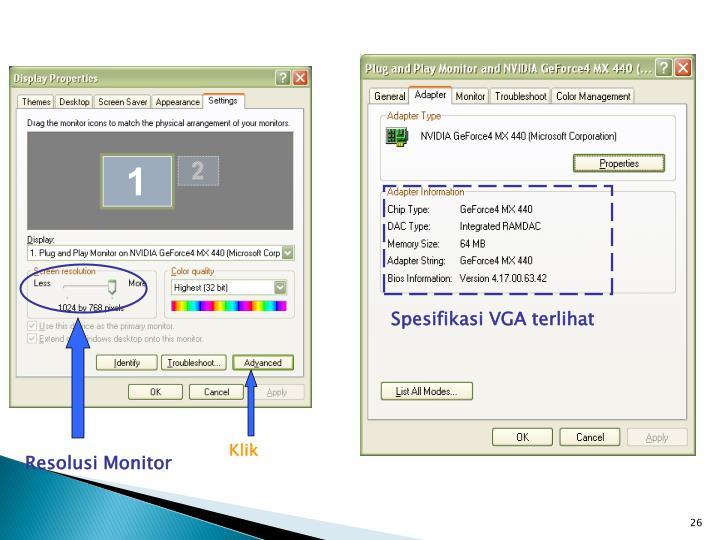 Spesifikasi VGA terlihat