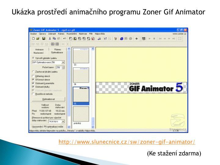 Ukázka prostředí animačního programu Zoner Gif Animator