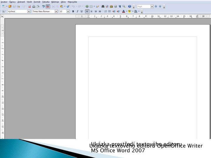 Ukázka prostředí textového editoru