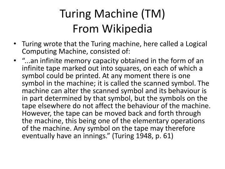 Turing Machine (TM)