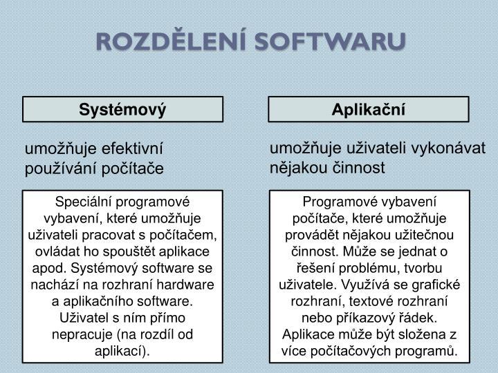 Rozdělení softwaru