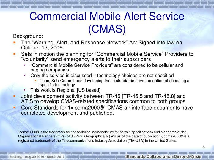 Commercial Mobile Alert Service (CMAS)
