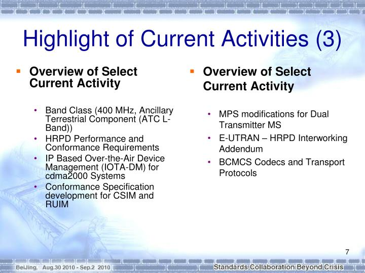 Overview of Select Current Activity
