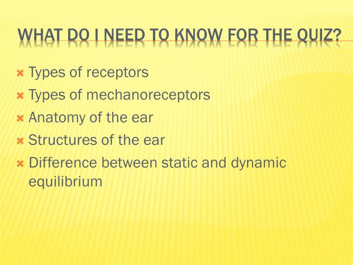 Types of receptors
