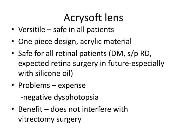 Acrysoft lens