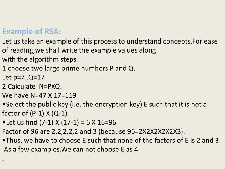 Example of RSA: