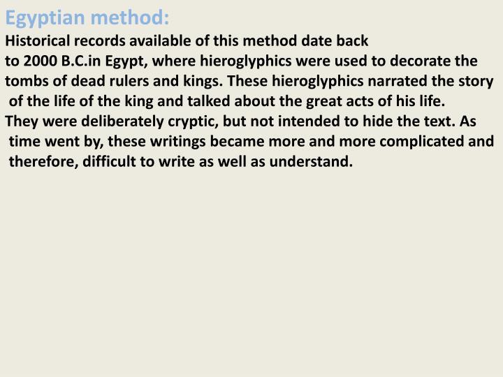 Egyptian method: