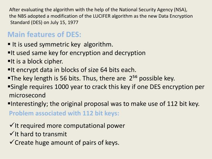After evaluating the algorithm with the help of the National Security Agency (NSA),