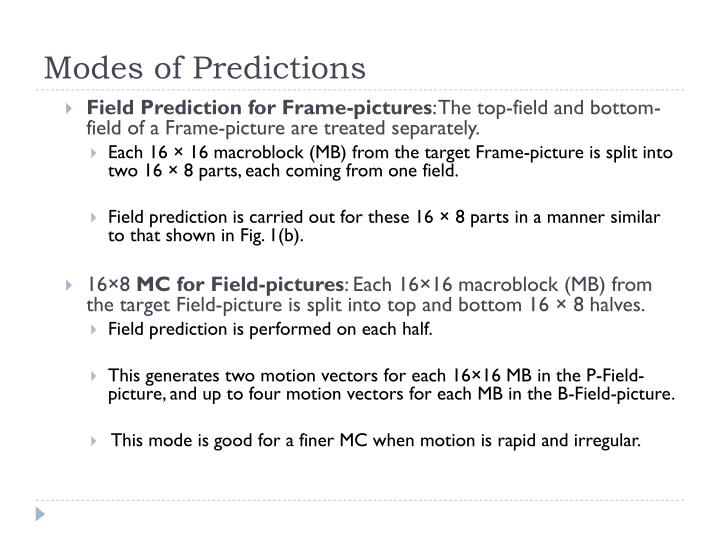 Modes of Predictions
