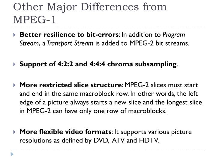 Other Major Differences from MPEG-1