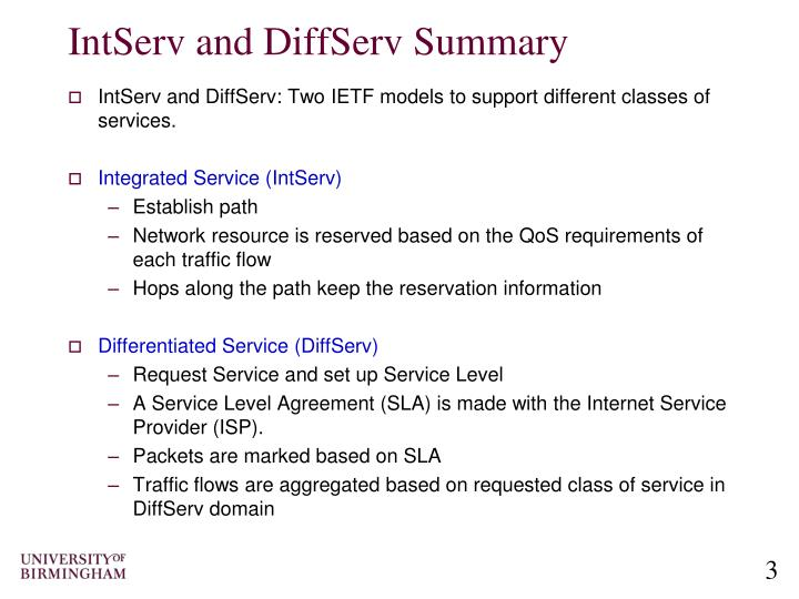 IntServ and DiffServ Summary