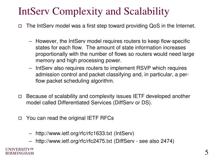 IntServ Complexity and Scalability