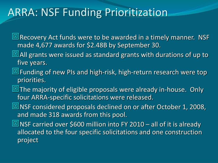 ARRA: NSF Funding Prioritization