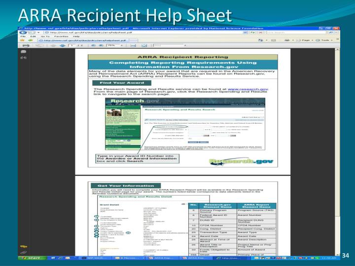 ARRA Recipient Help Sheet