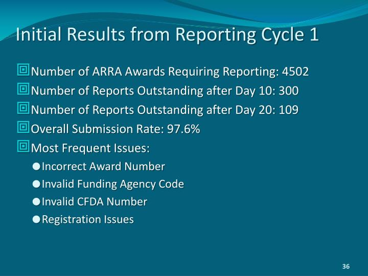 Initial Results from Reporting Cycle 1