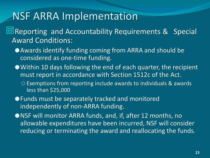 NSF ARRA Implementation