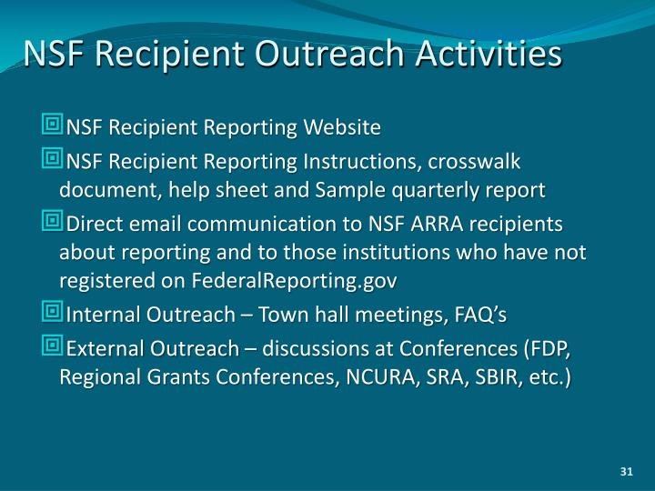 NSF Recipient Outreach Activities