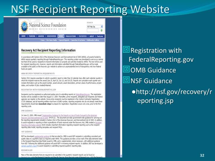NSF Recipient Reporting Website