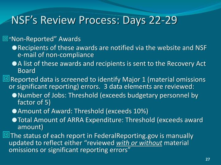 NSF's Review Process: Days 22-29