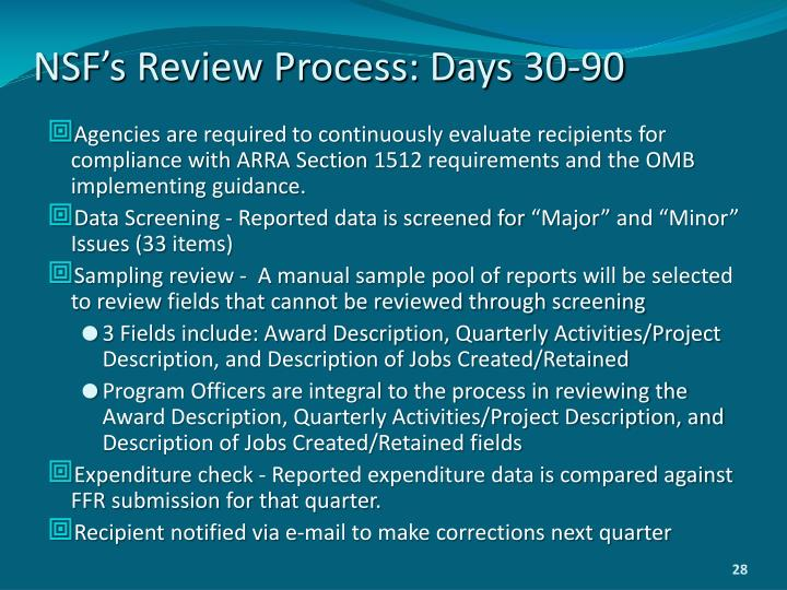 NSF's Review Process: Days 30-90