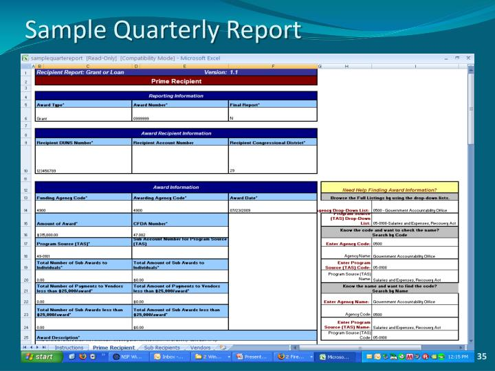 Sample Quarterly Report