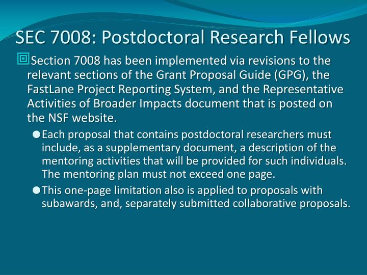 SEC 7008: Postdoctoral Research Fellows