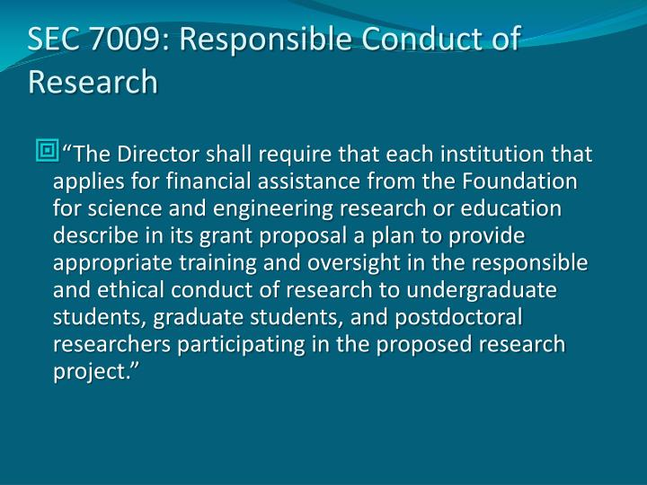 SEC 7009: Responsible Conduct of Research