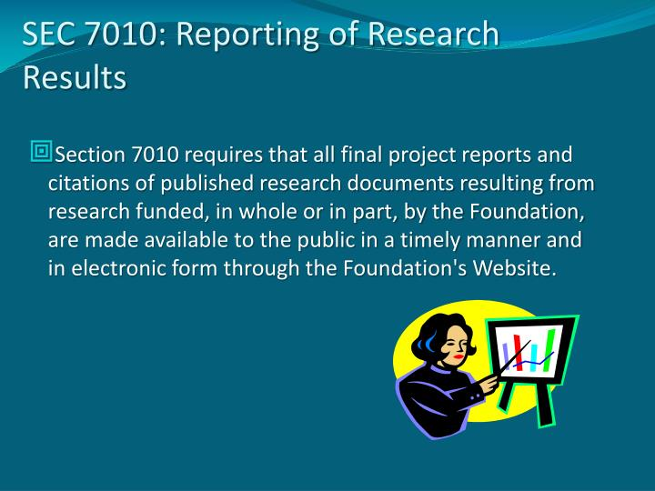 SEC 7010: Reporting of Research Results