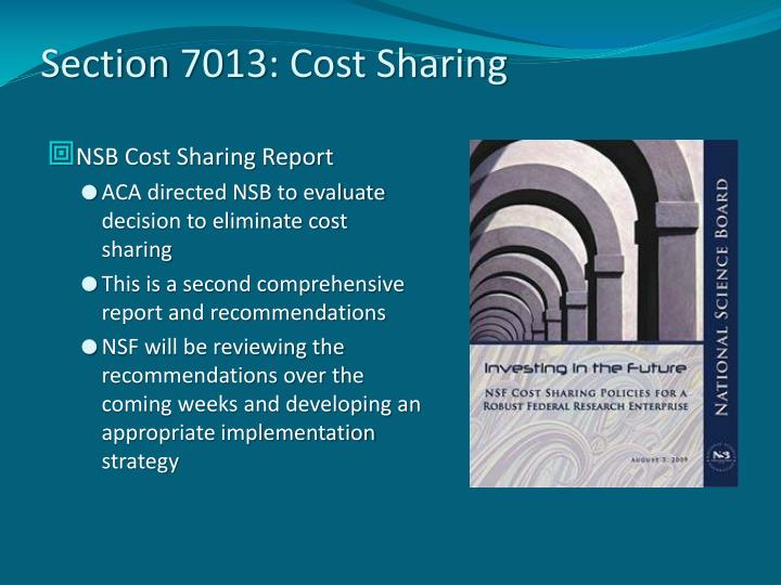 Section 7013: Cost Sharing