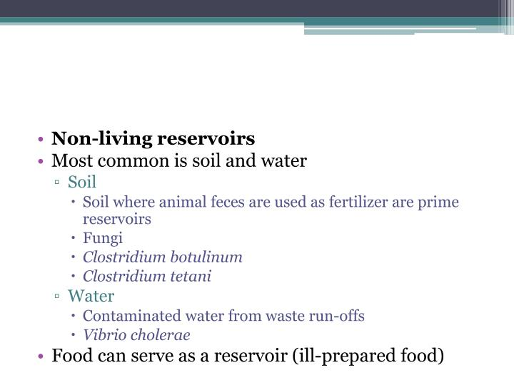 Non-living reservoirs